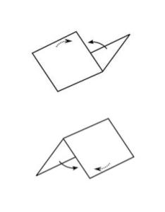 Eksempel på opadgående og nedadgående folder - Origami