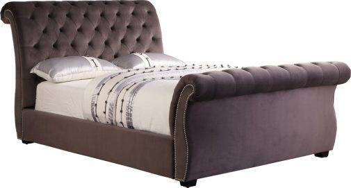 Sophia Stable Velvet Sleigh Bed