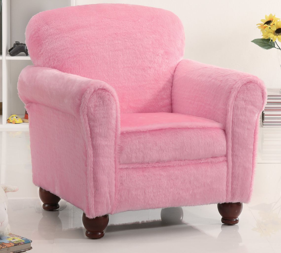 Pink Fluffy Chair Kids Plush Youth Chair In Fuzzy Pink Stargate Cinema