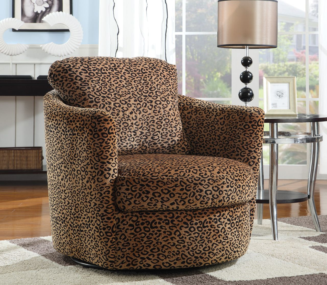 Swivel Accent Chair Swivel Accent Chair In Leopard Pattern Stargate Cinema