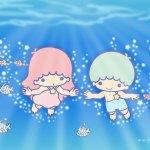 受保護的內容: Little Twin Stars Wallpaper 2017 八月桌布 日本官方Twitter票選海洋暢泳版