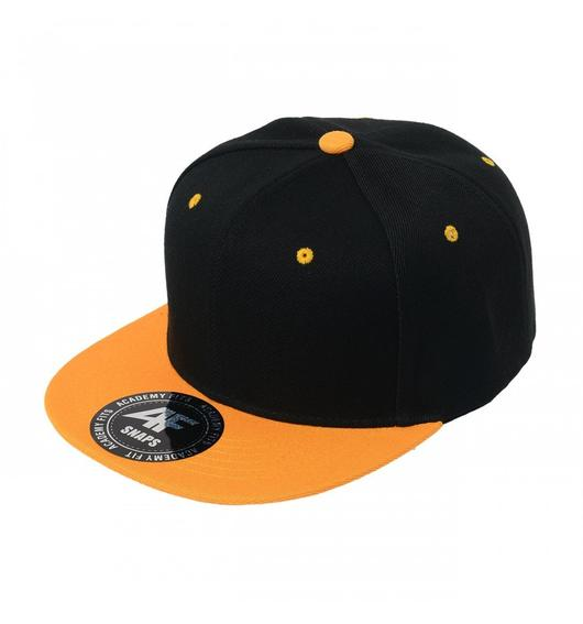 Custom 2-Tone Classic Snapback Flat Bill Hat (Embroidered with Logo) - Black/Gold - AF1013T