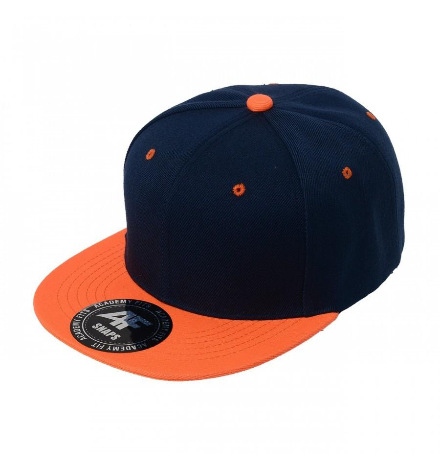 Custom 2-Tone Classic Snapback Flat Bill Hat (Embroidered with Logo) - Navy/Orange - AF1013T