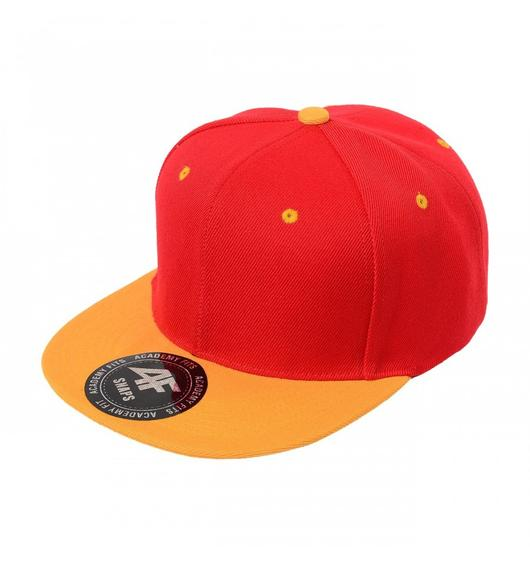 Custom 2-Tone Classic Snapback Flat Bill Hat (Embroidered with Logo) - Red/Gold - AF1013T
