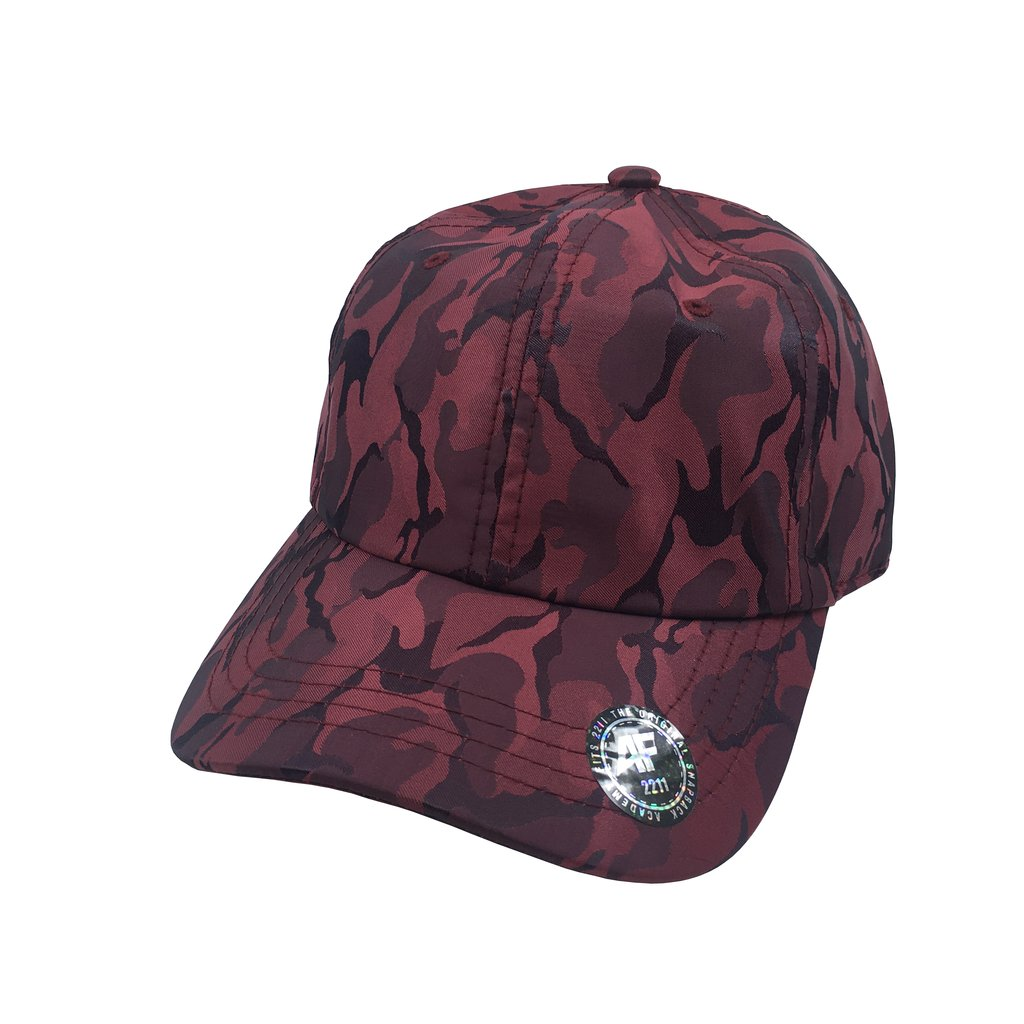 Custom Camo Tech Dad Hat (Embroidered with Logo) - Burgundy - AF2211