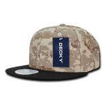 Custom Digital Camo Snapback Flat Bill Hat (Embroidered with Logo) - Black/Desert/Desert - Decky 1047