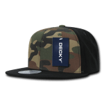 Custom Camo Snapback Flat Bill Hat (Embroidered with Logo) - Black/Woodland/Black - Decky 1049