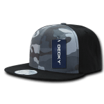 Custom Camo Snapback Flat Bill Hat (Embroidered with Logo) - Black/Urban/Black - Decky 1049