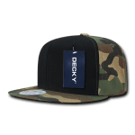 Custom Camo Snapback Flat Bill Hat (Embroidered with Logo) - Woodland/Black/Woodland - Decky 1049