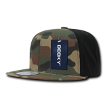 Custom Camo Snapback Flat Bill Hat (Embroidered with Logo) - Woodland/Black - Decky 1049