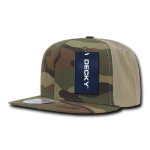 Custom Camo Snapback Flat Bill Hat (Embroidered with Logo) - Woodland/Khaki - Decky 1049