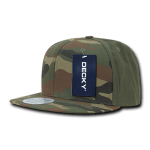 Custom Camo Snapback Flat Bill Hat (Embroidered with Logo) - Woodland/Olive - Decky 1049