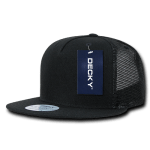 Custom 5 Panel Flat Bill Trucker Flat Bill Hat (Embroidered with Logo) - Black - Decky 1063