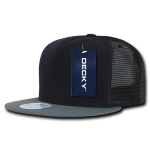 Custom 5 Panel Flat Bill Trucker Flat Bill Hat (Embroidered with Logo) - Black/Dark Grey - Decky 1063