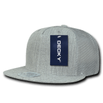 Custom 5 Panel Flat Bill Trucker Flat Bill Hat (Embroidered with Logo) - Heather Grey - Decky 1063