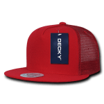 Custom 5 Panel Flat Bill Trucker Flat Bill Hat (Embroidered with Logo) - Red - Decky 1063