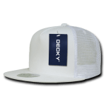 Custom 5 Panel Flat Bill Trucker Flat Bill Hat (Embroidered with Logo) - White - Decky 1063