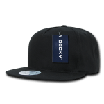 Custom 5 Panel Snapback Flat Bill Hat (Embroidered with Logo) - Black - Decky 1064
