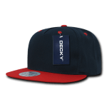 Custom 5 Panel Snapback Flat Bill Hat (Embroidered with Logo) - Navy/Red - Decky 1064