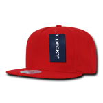 Custom 5 Panel Snapback Flat Bill Hat (Embroidered with Logo) - Red - Decky 1064