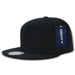 Custom 7 Panel Snapback Flat Bill Hat (Embroidered with Logo) - Black - Decky 1098