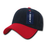Custom Low Crown Structured Baseball Hat (Embroidered with Logo) - Navy/Red - Decky 206