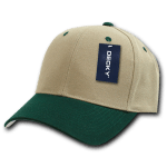 Custom Curve Bill Deluxe Baseball Hat (Embroidered with Logo) - Khaki/Hunter - Decky 207