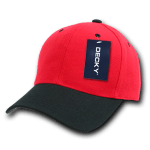 Custom Curve Bill Deluxe Baseball Hat (Embroidered with Logo) - Red/Black - Decky 207