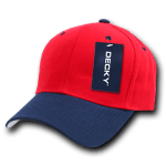 Custom Curve Bill Deluxe Baseball Hat (Embroidered with Logo) - Red/Navy - Decky 207