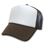 Custom Two-Tone Trucker Foam Mesh Hat (Embroidered with Logo) - Brown - Decky 210