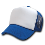 Custom Two-Tone Trucker Foam Mesh Hat (Embroidered with Logo) - Royal - Decky 210