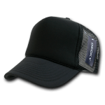 Custom Solid Color Trucker Mesh Foam Hat (Embroidered with Logo) - Black - Decky 211