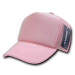 Custom Solid Color Trucker Mesh Foam Hat (Embroidered with Logo) - Pink - Decky 211