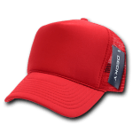 Custom Solid Color Trucker Mesh Foam Hat (Embroidered with Logo) - Red - Decky 211