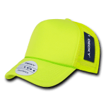 Custom Solid Color Neon Trucker Foam Mesh Hat (Embroidered with Logo) - Neon Yellow - Decky 221
