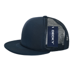 Custom Solid Color Flat Bill Trucker Foam Mesh Hat (Embroidered with Logo) - Navy - Decky 223