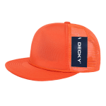 Custom Solid Color Flat Bill Trucker Foam Mesh Hat (Embroidered with Logo) - Orange - Decky 223