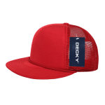Custom Solid Color Flat Bill Trucker Foam Mesh Hat (Embroidered with Logo) - Red - Decky 223
