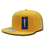 Custom Solid Color Classic Snapback Flat Bill Hat (Embroidered with Logo) - Gold - Decky 350