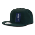 Custom Solid Color Classic Snapback Flat Bill Hat (Embroidered with Logo) - Hunter - Decky 350
