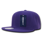 Custom Solid Color Classic Snapback Flat Bill Hat (Embroidered with Logo) - Purple - Decky 350