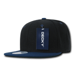 Custom Two-Tone Classic Snapback Flat Bill Hat (Embroidered with Logo) - Black/Navy - Decky 351