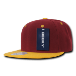 Custom Two-Tone Classic Snapback Flat Bill Hat (Embroidered with Logo) - Cardinal/Gold - Decky 351