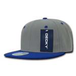 Custom Two-Tone Classic Snapback Flat Bill Hat (Embroidered with Logo) - Grey/Royal - Decky 351