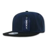 Custom Two-Tone Classic Snapback Flat Bill Hat (Embroidered with Logo) - Navy/Black - Decky 351