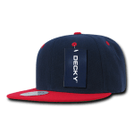Custom Two-Tone Classic Snapback Flat Bill Hat (Embroidered with Logo) - Navy/Red - Decky 351