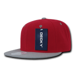 Custom Two-Tone Classic Snapback Flat Bill Hat (Embroidered with Logo) - Red/Grey - Decky 351