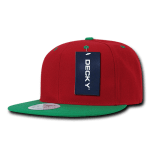 Custom Two-Tone Classic Snapback Flat Bill Hat (Embroidered with Logo) - Red/Kelly - Decky 351