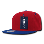 Custom Two-Tone Classic Snapback Flat Bill Hat (Embroidered with Logo) - Red/Royal - Decky 351