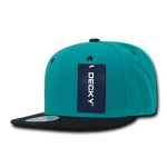 Custom Two-Tone Classic Snapback Flat Bill Hat (Embroidered with Logo) - Teal/Black - Decky 351